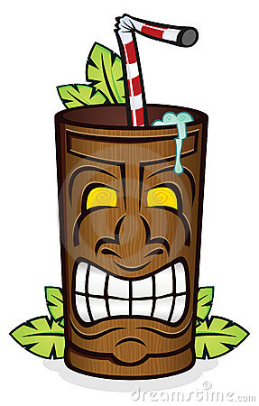 Tiki Cup With Palm Leaves