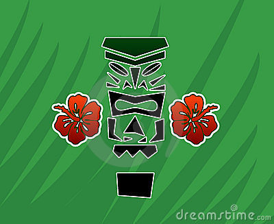 Tiki God with Hibiscus