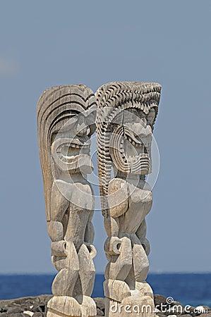 Tiki idols at Big Island of Hawaii.