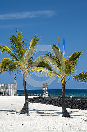 Tiki idols at Big Island of Hawaii. Place of Refug