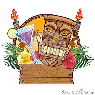 Free Tiki Mask With Blank Wood Sign Stock Photos - 118882553