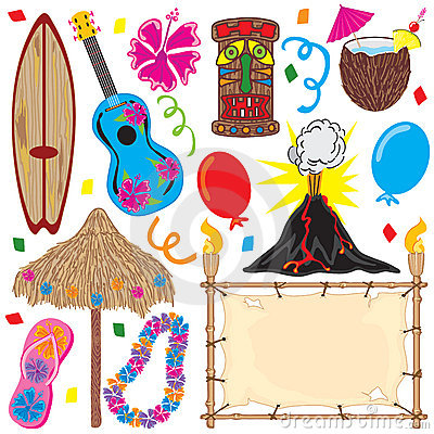 Free Tiki Party Elements Great For A Hawaiian Party! Stock Images - 9574384