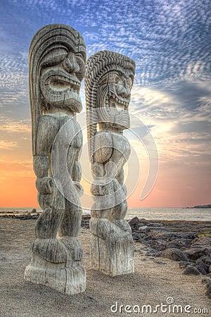 Tiki Statues Big Island Hawaii