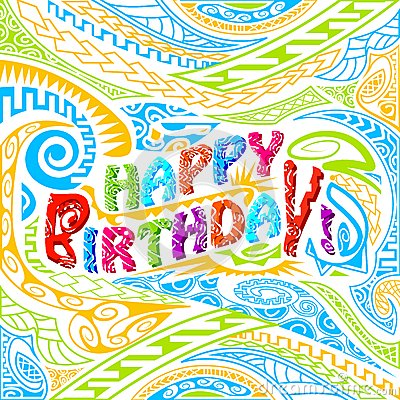 Tiki style Happy Birthday typography