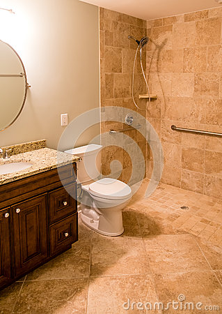 Free Tile Bathroom With Handicapped Shower Stock Photo - 57129320