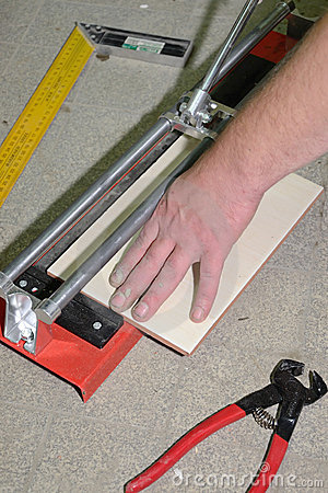 Tile cutting process