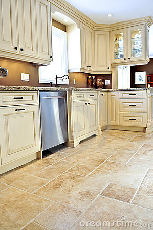 Free Tile Floor In Modern Kitchen Royalty Free Stock Image - 7250536