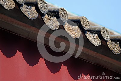 Tile on the red wall