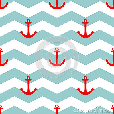 Free Tile Sailor Vector Pattern With Red Anchor On White And Blue Stripes Background Stock Photo - 54078680