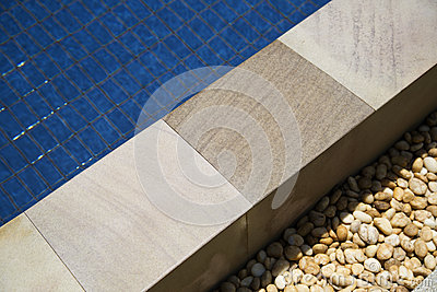 Tile with swimming pool edge