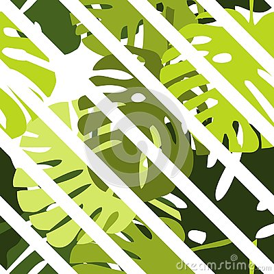 Free Tile Tropical Vector Pattern With Green Exotic Leaves And White Stripes Background Royalty Free Stock Image - 94553876