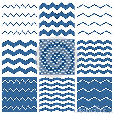 Free Tile Vector Chevron Pattern Set With Sailor Blue And White Zig Zag Background Stock Photos - 55945473