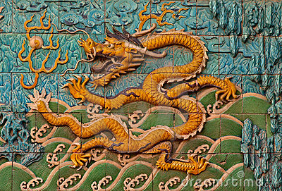Tile Wall With Chinese Dragon Royalty Free Stock Images - Image: 12000149