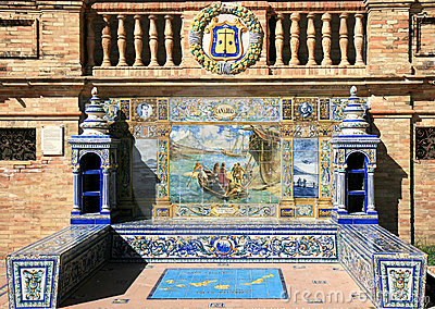 Tiled alcove at Plaza de Espana, Seville, Spain