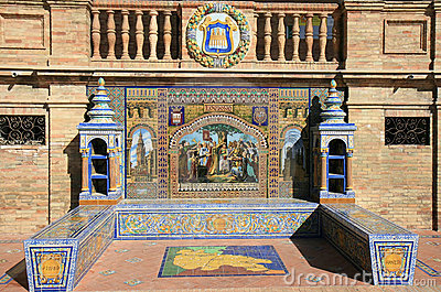 Tiled alcove. Plaza de Espana in Seville, Spain
