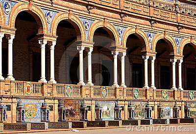 Tiled alcoves at Plaza de Espana, Seville, Spain