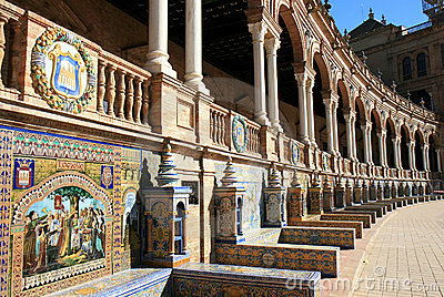 Tiled alcoves, Plaza de Espana, Seville, Spain
