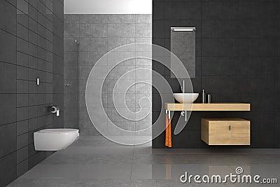 Tiled bathroom with wood furniture