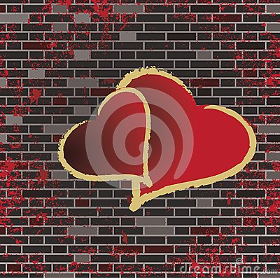 Tiled brick wall and the romance heart raster