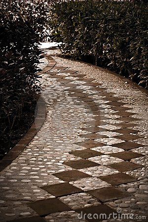 A tiled cobblestone path