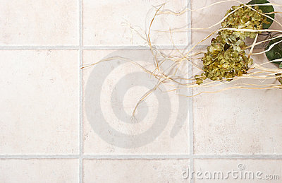 Tiled floor with flowers