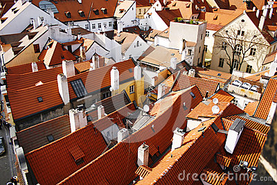 Tiled roofs in Prague, Czech Republic
