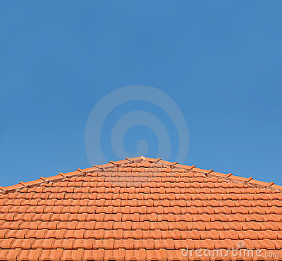 Tiled Rooftop on Blue Sky