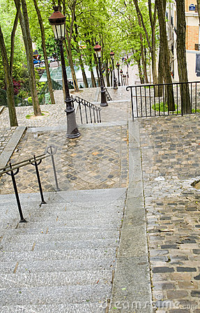 Tiled steps butte walk up to top of Basilica Sacre Coeur Sacred