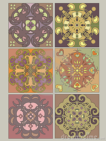 Tiles set with vintage decorative patterns