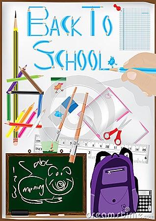 Tillbaka skola för teckningseps-penna som ska användas