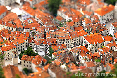 Tilt-shift effect of Kotor old town, Montenegro