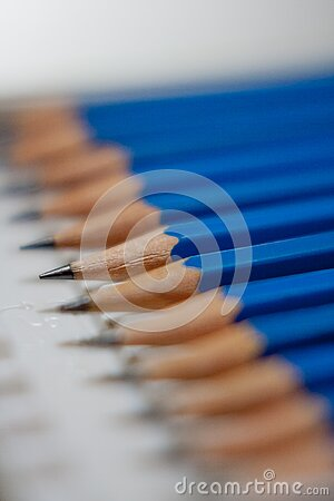 Tilt Shift Lens Photography Of Blue Pencils Free Public Domain Cc0 Image