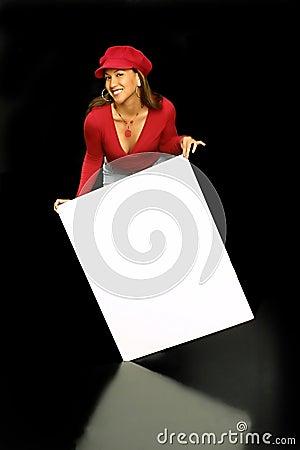 Tilt on sign girl