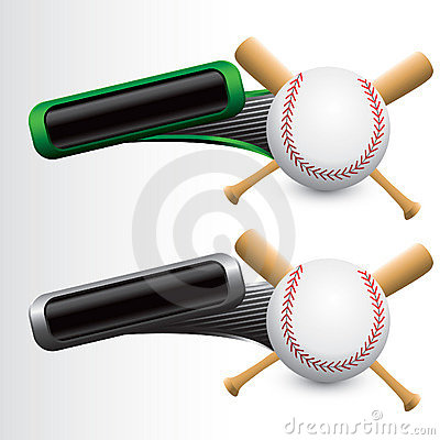 Tilted green and gray tabs with baseball and bats