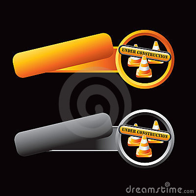 Tilted orange and gray tabs constructions cones