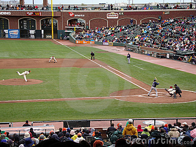Tim Lincecum throws a pitch to Braves Matt Diaz, Editorial Image