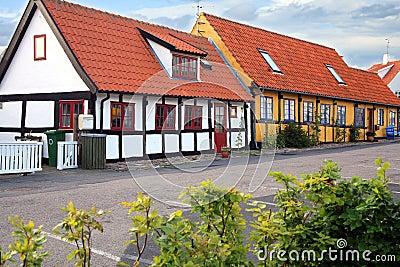 Timber framing house in Gudhjem, Bornholm Island, Denmark