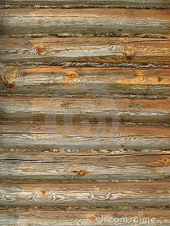 Timber wall of old loghouse