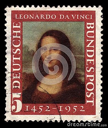 Timbre-poste allemand Mona Lisa