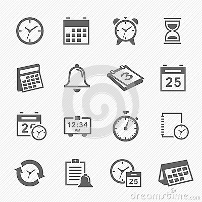 Free Time And Schedule Stroke Symbol Icons Set Royalty Free Stock Images - 38149479