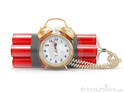 Time bomb with alarm clock detonator. Dynamit