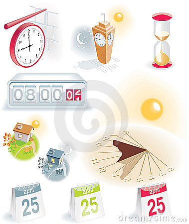 Time and calendar icons set