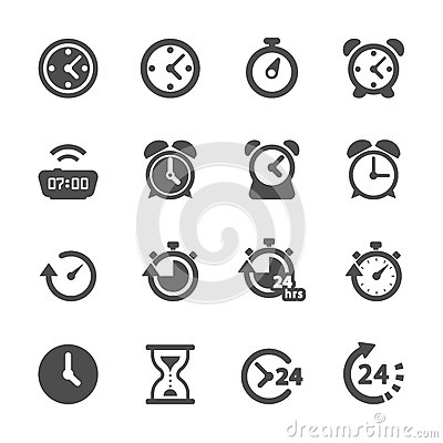 Time and clock icon set, vector eps10 Vector Illustration