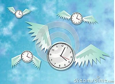 Time Flies Cartoon Illustration