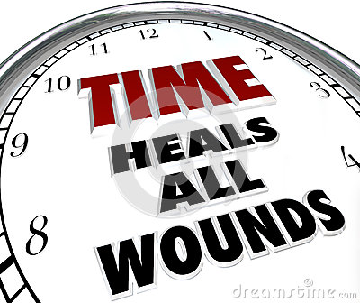 Time Heals All Wounds Clock Saying - Forgiveness of Disputes