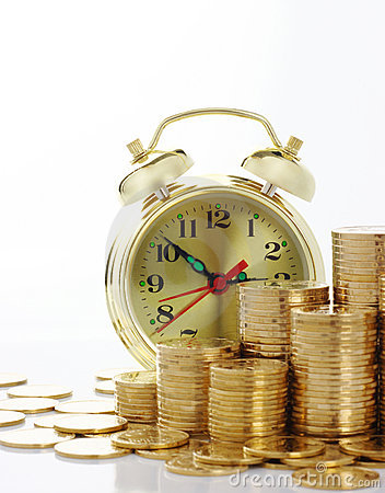 Free Time Is Money - Clock Dial And Golden Coins Stock Photography - 12130982