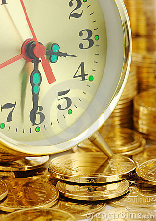 Free Time Is Money - Clock Dial And Golden Coins Royalty Free Stock Image - 12131096
