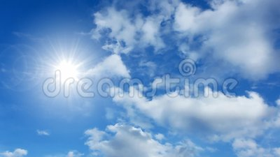 Time lapse clouds and sun. Time lapse cumulus clouds and the sun stock video footage