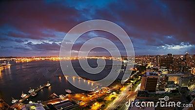 Time lapse del puerto y de la ciudad de Durban, Suráfrica metrajes
