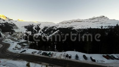 Time Lapse of the ski resort of Avoriaz in the French Alps, stock video footage